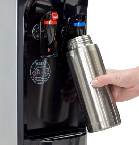 filling sports bottle from bottleless water cooler